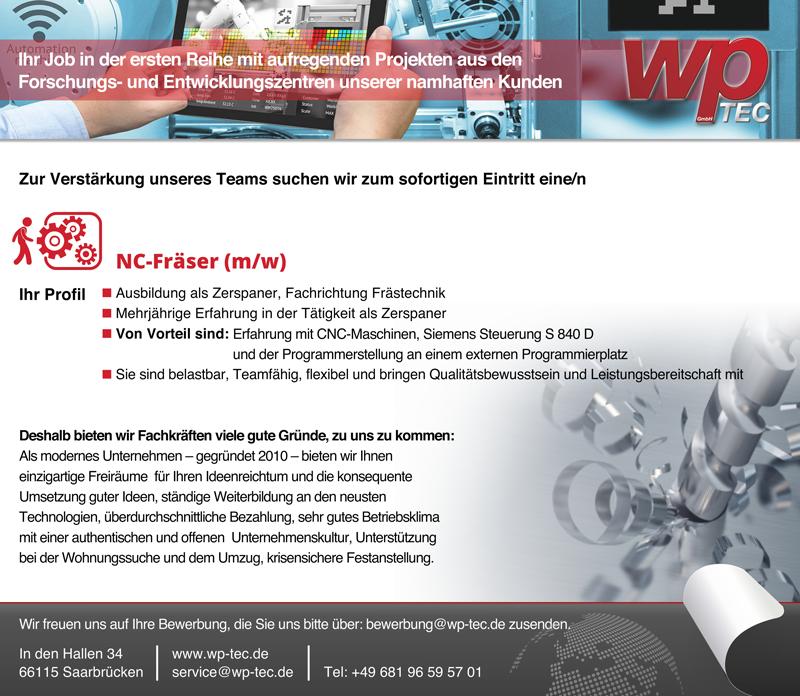 NC-Fräser m/w - wp-TEC GmbH - in Saarbrücken - stellenecho.de