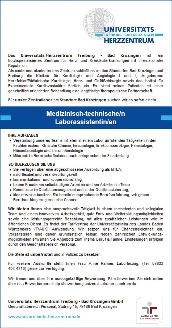 MTLA, Medizinisch technische Laborassistenten/innen am  Universitäts-Herzzentrum Freiburg - Bad Krozingen - Universitäts-Herzzentrum Freiburg - Bad Krozingen - in Bad Krozingen - stellenecho.de