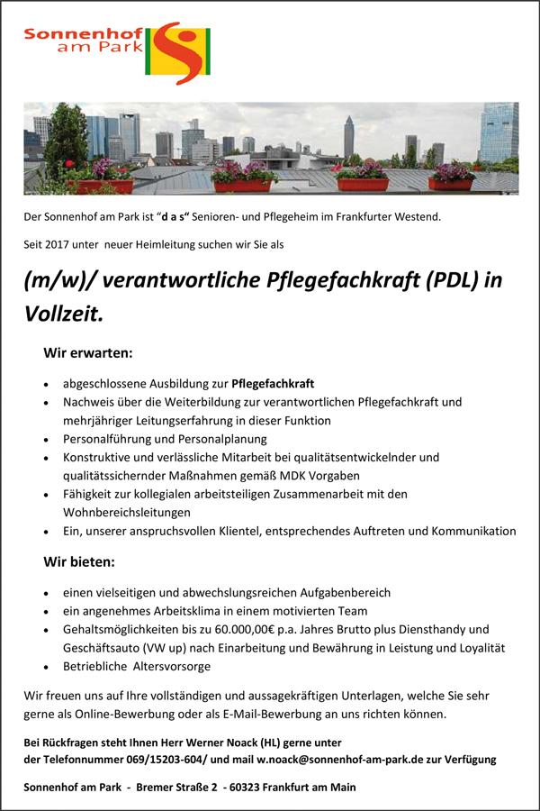 verantwortliche Pflegefachkraft / PDL   in Vollzeit - Sonnenhof Atrium - in Hettenleidelheim - stellenecho.de