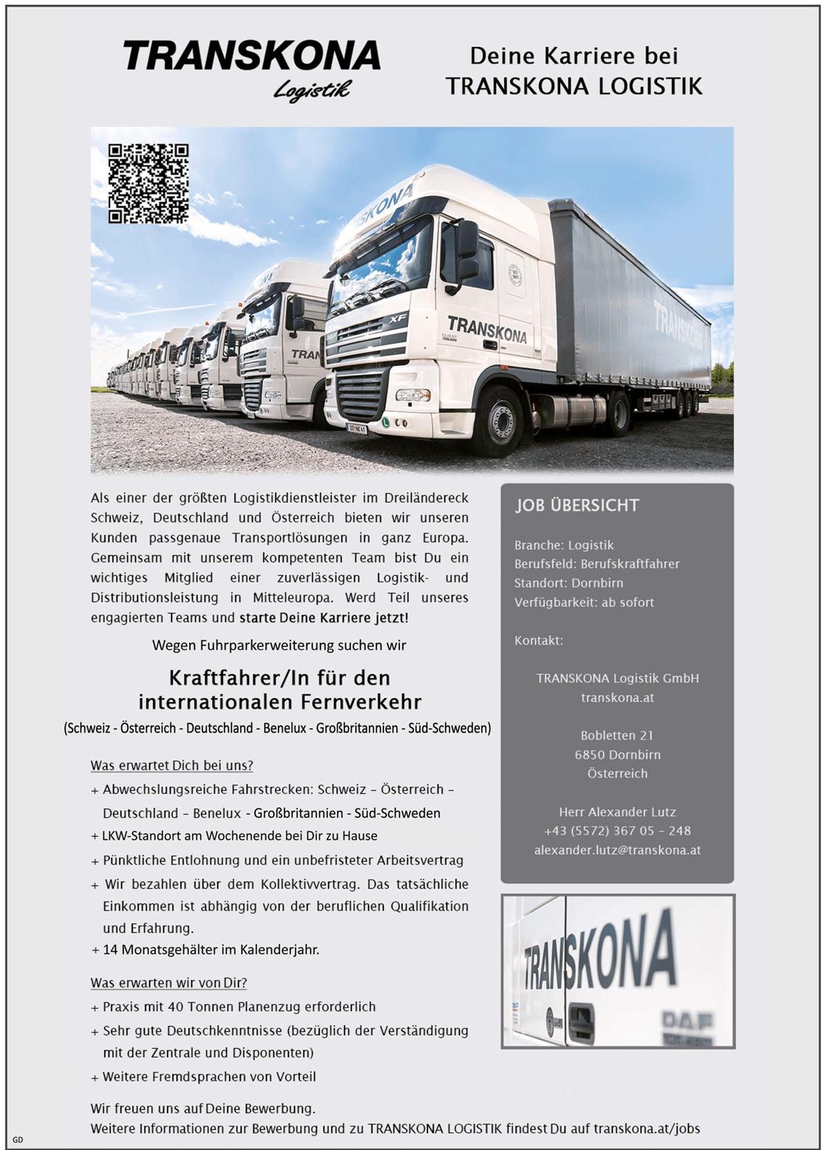 Kraftfahrer / Kraftfahrerin Klasse CE, Klasse 2,   für den internationalen Fernverkehr - TRANSKONA Logistik GmbH - in Dornbirn - stellenecho.de
