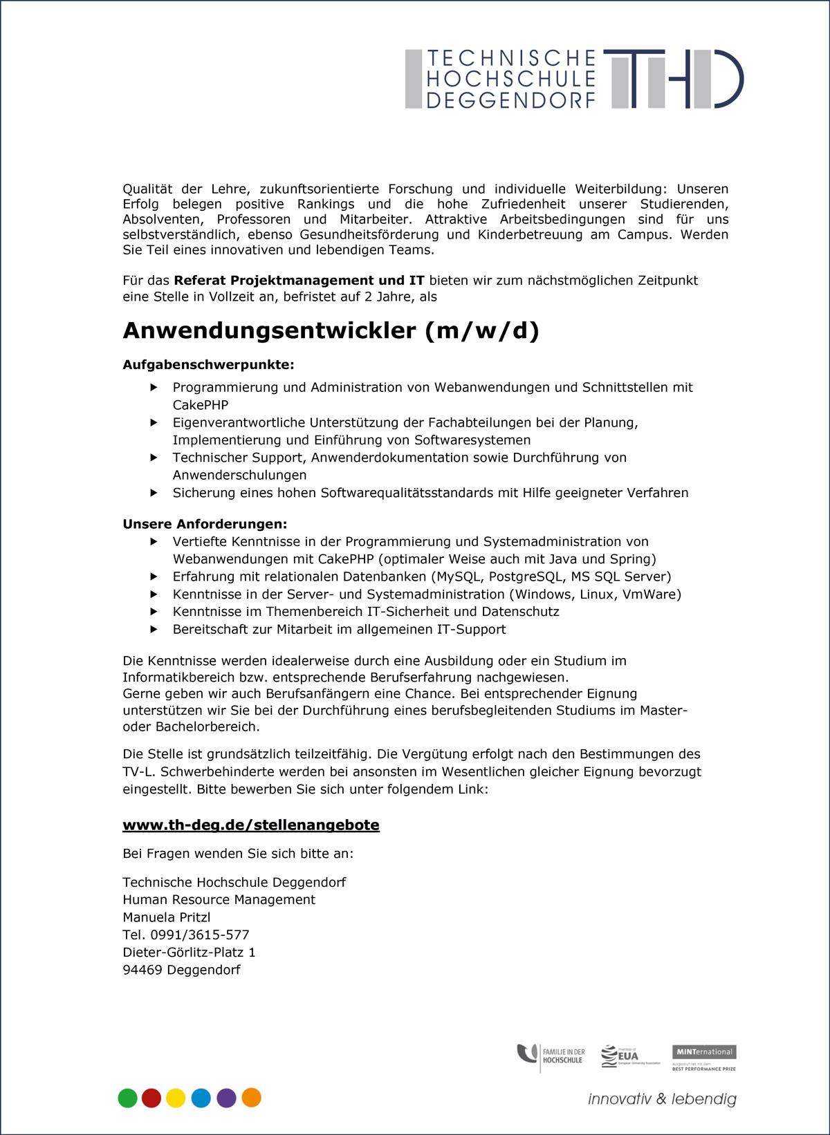 Anwendungsentwickler m/w/d  für das Referat Projektmanagement und IT  am Campus Deggendorf - THD-Technische Hochschule Deggendorf - in Deggendorf - stellenecho.de