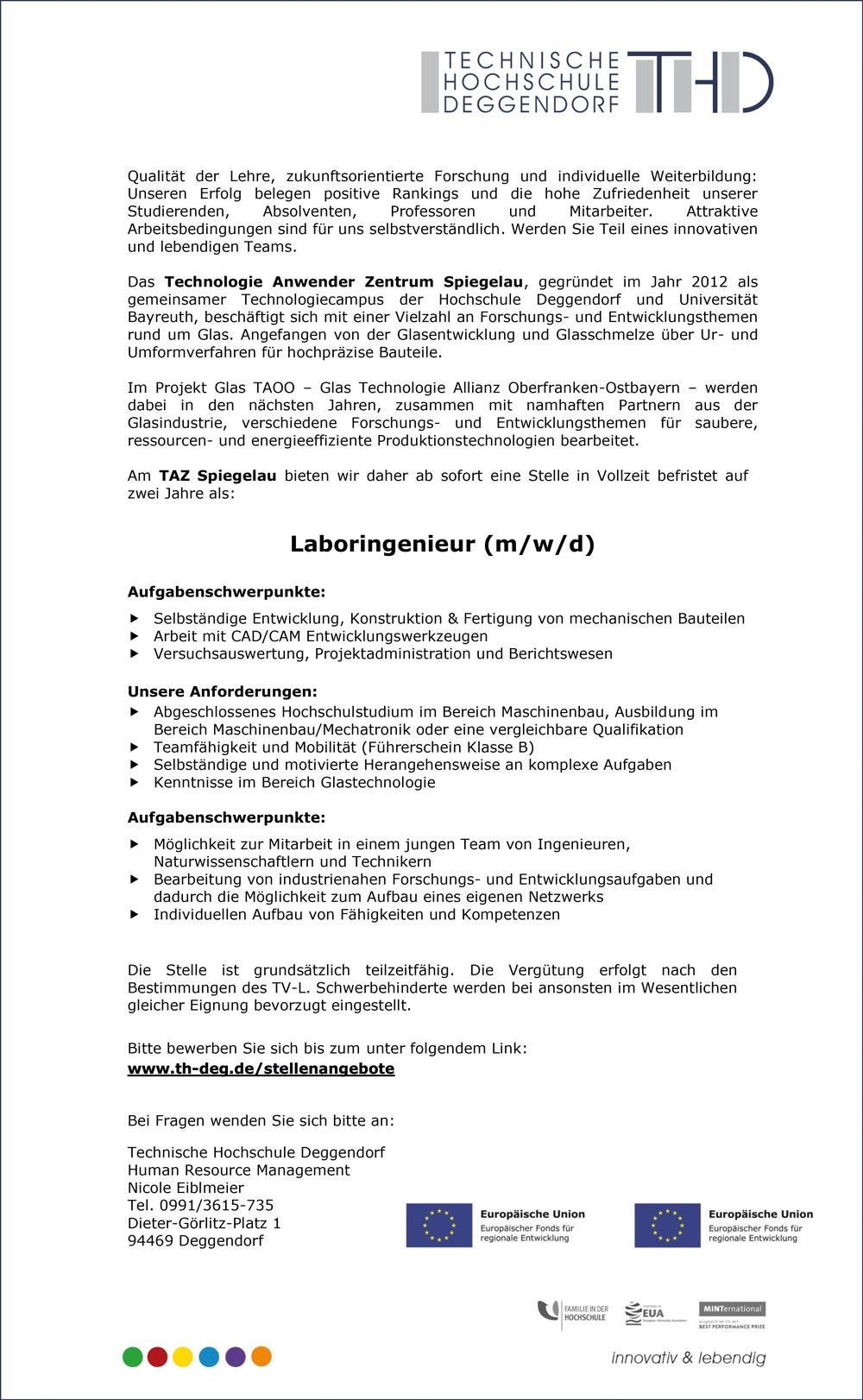 Laboringenieur m/w/d  am Technologie Anweder Zentrum Spiegelau - THD-Technische Hochschule Deggendorf - in Deggendorf - stellenecho.de