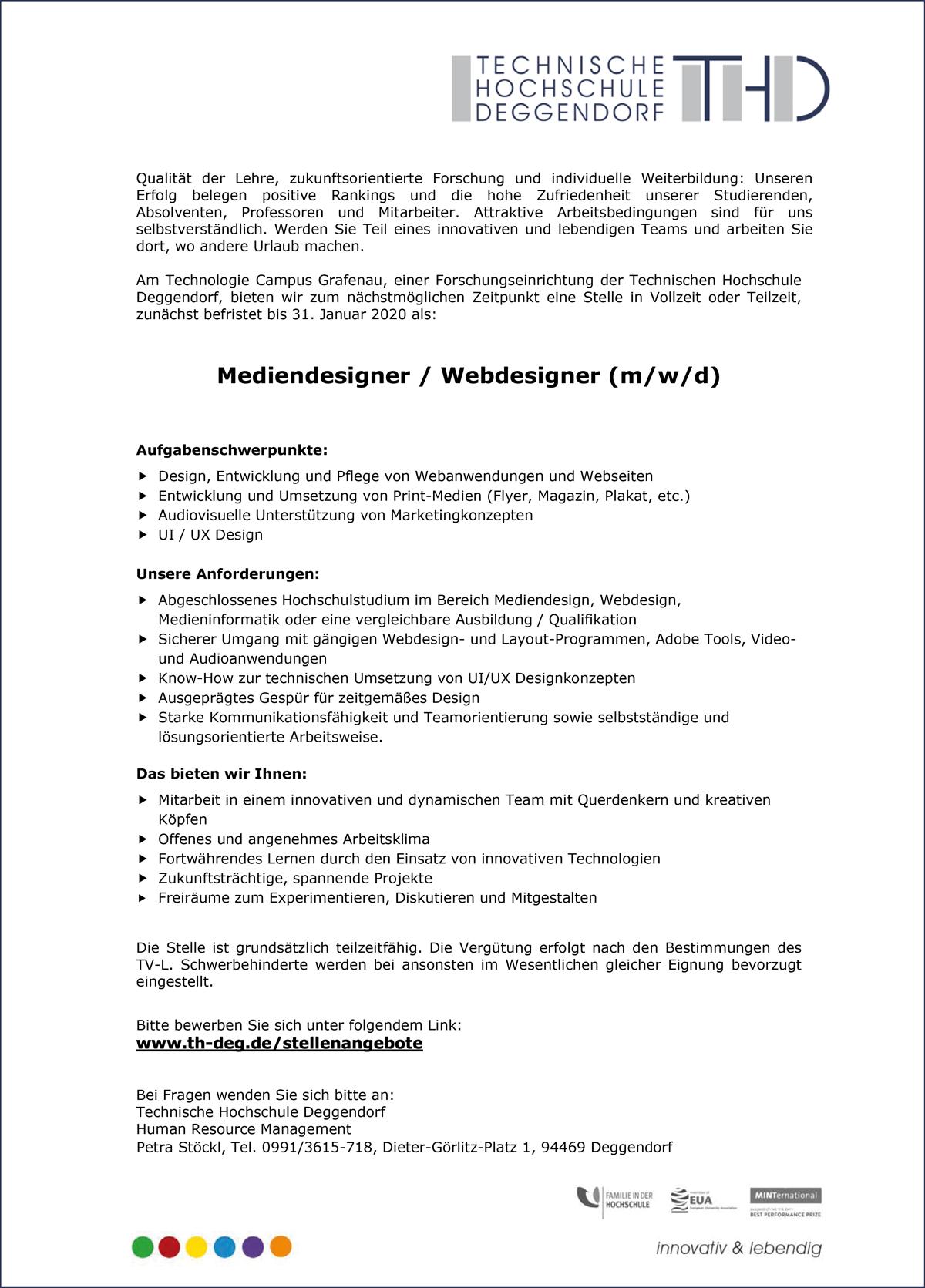 Mediendesigner / Webdesigner m/w/d  am Technologie Campus Grafenau - THD-Technische Hochschule Deggendorf - in Deggendorf - stellenecho.de