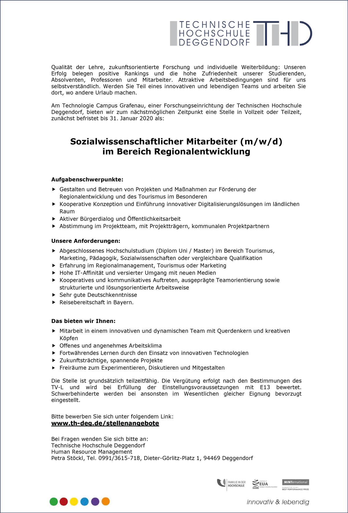 Sozialwissenschaftlicher Mitarbeiter m/w/d  im Bereich Regionalentwicklung  am Technologie Campus Grafenau - THD-Technische Hochschule Deggendorf - in Deggendorf - stellenecho.de