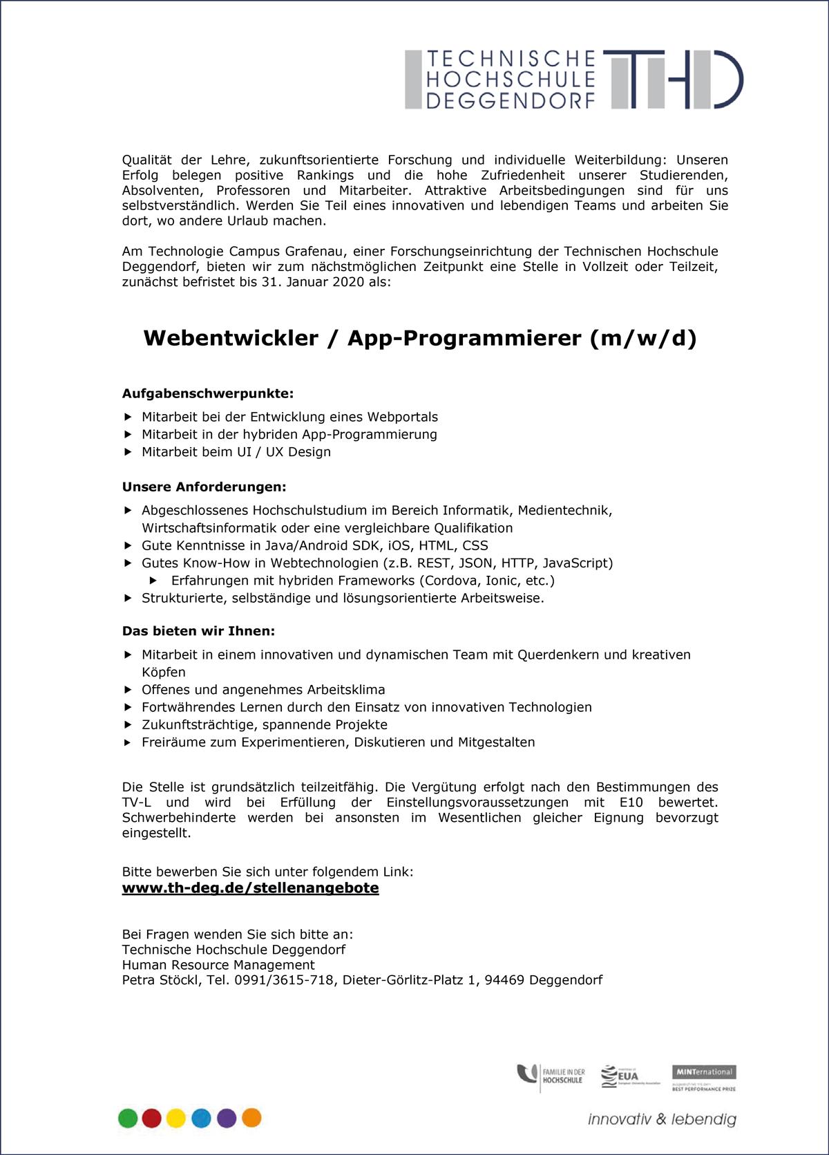 Webentwickler / App-Programmierer m/w/d  am Technologie Campus Grafenau - THD-Technische Hochschule Deggendorf - in Deggendorf - stellenecho.de
