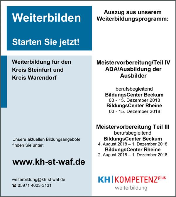 Für gewerbliche und kaufmännische Weiterbildung,   Schulungen, Meistervorbereitung, auch berufsbegleitend,   sowie ADA / Teilzeit und Vollzeit, Ausbildungslehrgänge  und Termine - Kreishandwerkerschaft Steinfurt-Warendorf - in Rheine - stellenecho.de