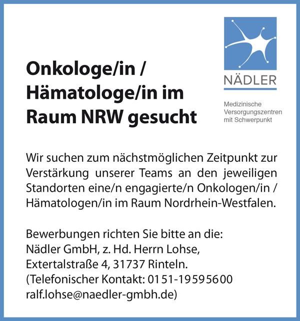 Onkologin / Onkologe   Hämatologin / Hämatologe  im Raum NRW gesucht - Nädler GmbH - in Rinteln - stellenecho.de