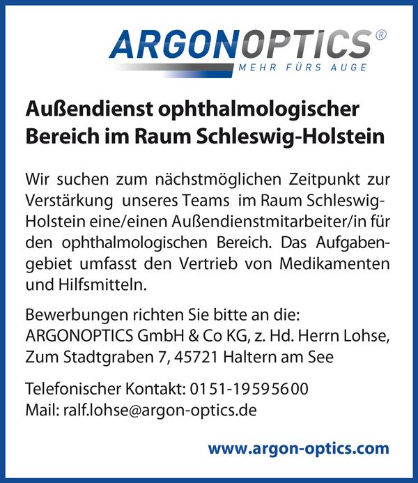 Mitarbeiterin / Mitarbeiter im Außendienst ophthalmologischer Bereich im Raum Schleswig-Holstein  Das Aufgabengebiet umfasst den Vertrieb von Medikamenten und Hilfsmitteln - ARGONOPTICS GmbH & Co KG - in Haltern - stellenecho.de