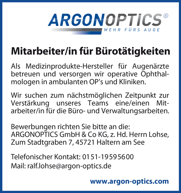 Mitarbeiterin / Mitarbeiter für Bürotätigkeiten / Verwaltungsarbeiten - ARGONOPTICS GmbH & Co KG - in Haltern - stellenecho.de