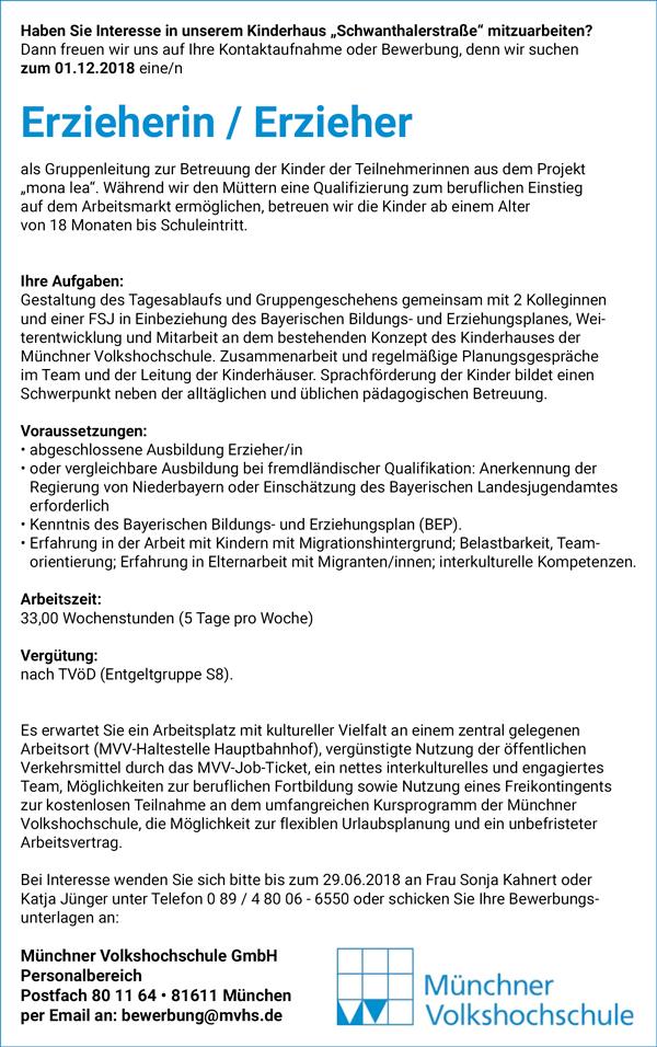 Erzieherin / Erzieher als Gruppenleitung  im Kinderhaus Schwanthalerstraße / München - Münchener Volkshochschule GmbH - in München - stellenecho.de