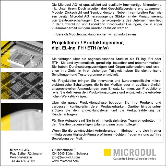 Projektleiter / Produktingenieur   dipl. El.-Ing. FH/ETH m/w - Microdul AG - in Zürich - stellenecho.de