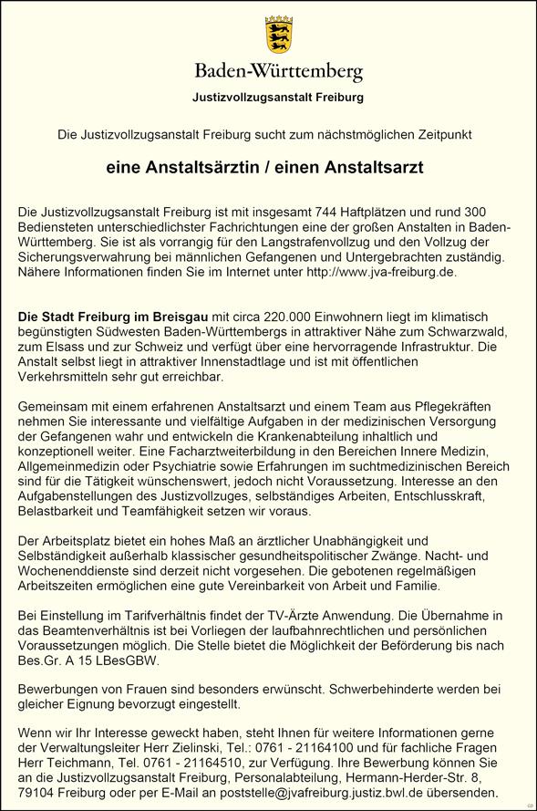 eine Anstaltsärztin / Anstaltsarzt  gerne mit Erfahrung, Allgemeinmedizin / Innere Medizin - Justizvollzugsanstalt Freiburg - in Freiburg im Breisgau - stellenecho.de