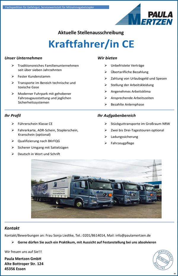 Kraftfahrerin / Kraftfahrer, FS-Kl. CE  für Stückguttransporte Großraum NRW ab Standort Essen - Paula Mertzen GmbH - in Essen - stellenecho.de