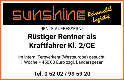 Rüstiger Rentner m/w als Kraftfahrer im internationalen Fernverkehr, Westeuropa, FS-Kl. CE - SUNSHINE GmbH Reisemobil-Logistik - in Oerlinghausen - stellenecho.de