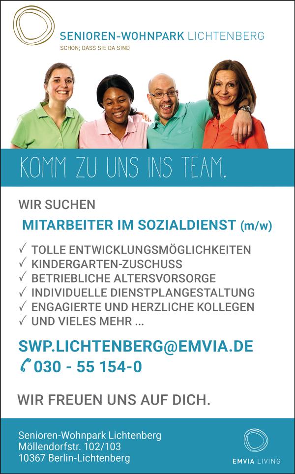 Mitarbeiter m/w im Sozialdienst in Berlin - Senioren -Wohnpark Lichtenberg - in Berlin - stellenecho.de