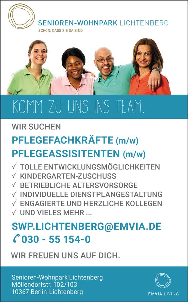 Pflegefachkräfte m/w in Berlin  Pflegeassistenten m/w in Berlin - Senioren -Wohnpark Lichtenberg - in Berlin - stellenecho.de