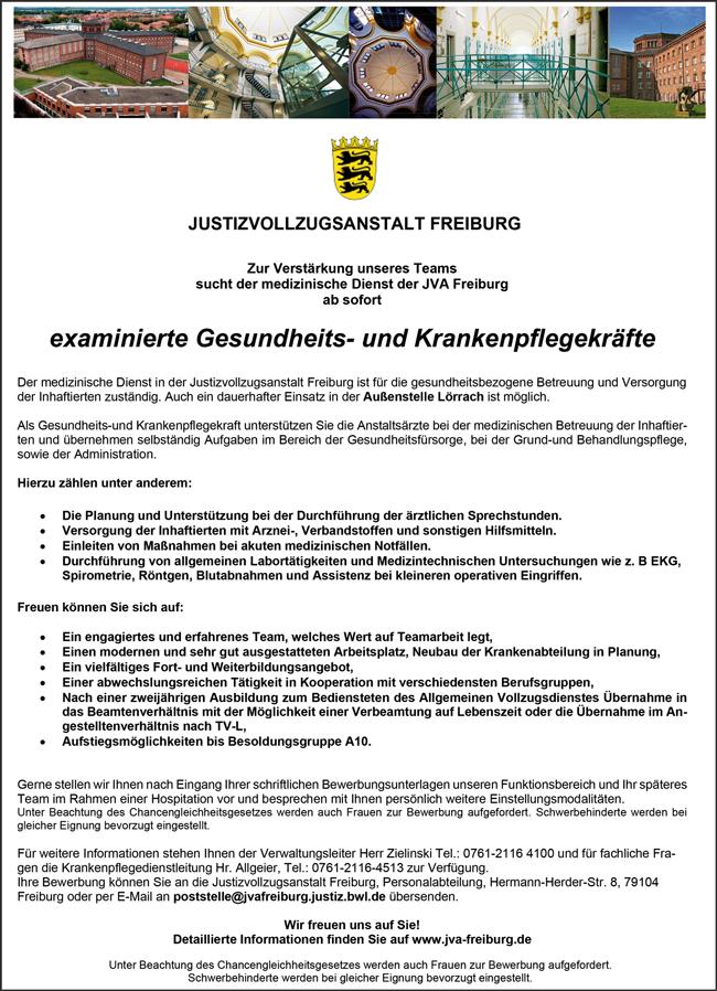 examinierte Gesundheits- und Krankenpfleger  unbefristet, in Vollzeit, am Standort Freiburg i. Br. - Justizvollzugsanstalt Freiburg - in Freiburg im Breisgau - stellenecho.de