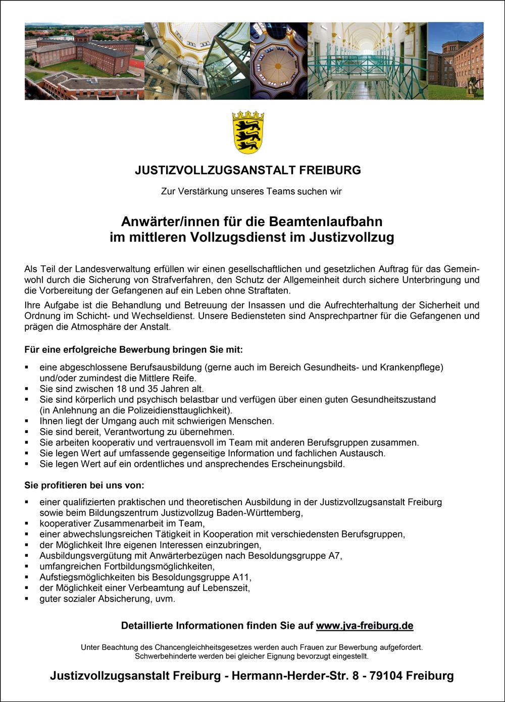 Anwärter / Anwärterinnen für die Beamtenlaufbahn im mittleren Vollzugsdienst im Justizvollzug - Justizvollzugsanstalt Freiburg - in Freiburg im Breisgau - stellenecho.de