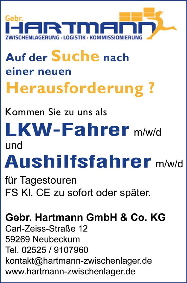 LKW-Fahrer m/w/d, FS-KL. CE, Vollzeit, unbefristet oder  Aushilfsfahrer m/w, FS-Kl. CE am Standort Neubeckum, Beckum - Gebr. Hartmann GmbH & Co. KG - in Neubeckum - stellenecho.de