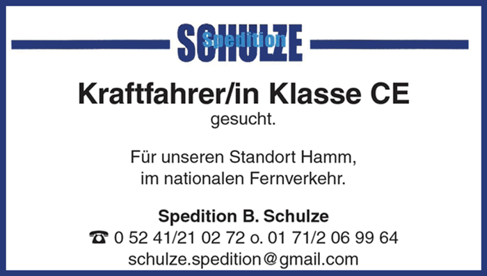 Kraftfahrer m/w/d, Fs.-Kl. CE, unbefristet, in Vollzeit für unseren Standort Hamm, im nationalen Fernverkehr - Spedition B.Schulze - in Gütersloh - stellenecho.de