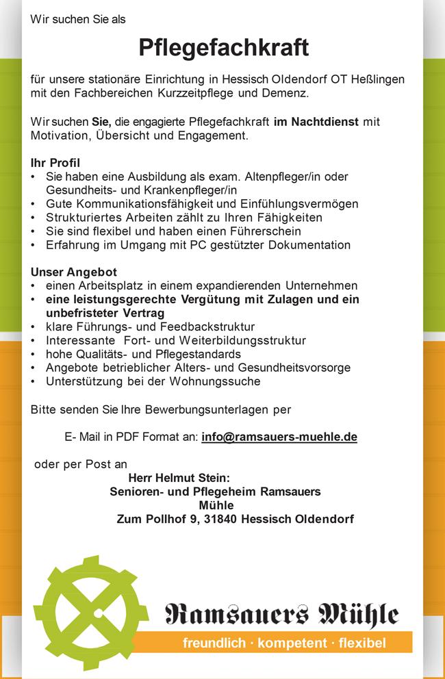 Pflegefachkraft m/w/d, im Nachtdienst, Vollzeit, unbefristet am Standort Hessisch Oldendorf - Senioren- und Pflegeheim Ramsauers Mühle - in Hessisch Oldendorf - stellenecho.de