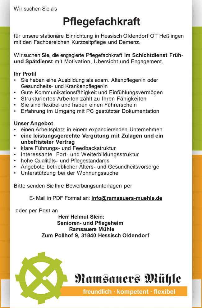 Pflegefachkraft m/w/d, in der Kurzzeitpflege im Schichtdienst, Vollzeit, unbefristet am Standort Hessisch Oldendorf - Senioren- und Pflegeheim Ramsauers Mühle - in Hessisch Oldendorf - stellenecho.de